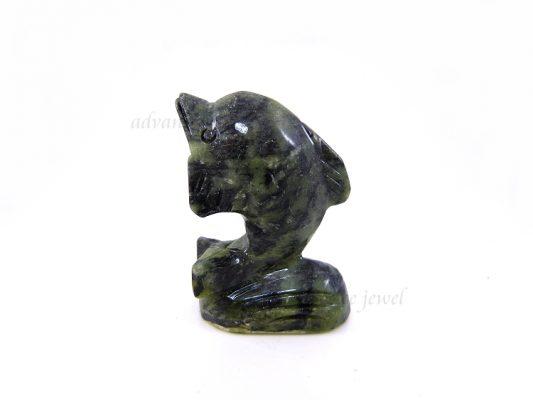 動物雕刻-海豚-黑綠玉