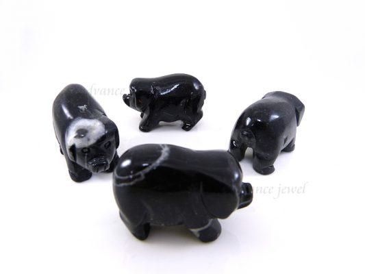 動物雕刻-豬-黑石