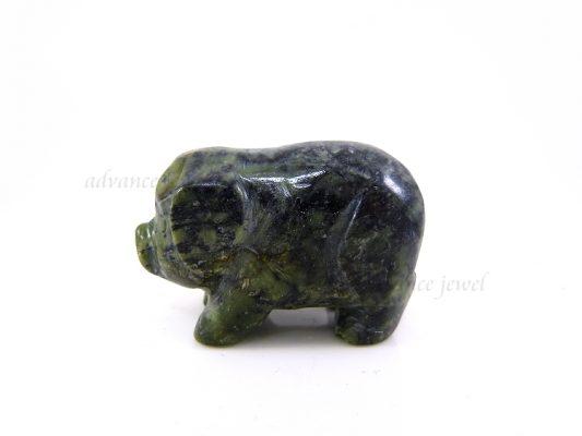 動物雕刻-豬-黑綠玉
